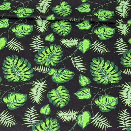 Tkanina bawełniana wzór zielone Tropikalne Liście na czarnym