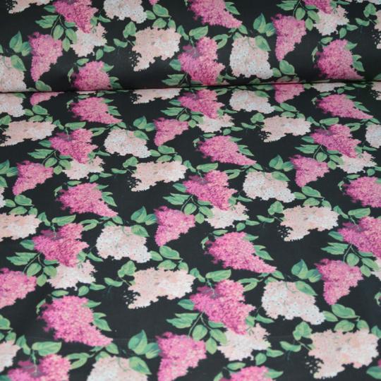 Tkanina bawełniana ze wzorem bzu na czarnym tle