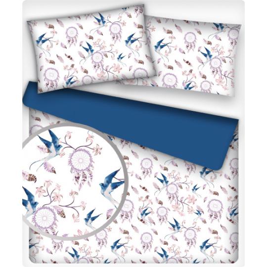 Tkanina bawełniana wzór niebieski łowca marzeń na białym tle