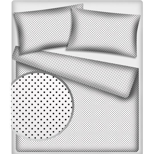 Tkanina bawełniana Czarne groszki 7 mm na białym tle