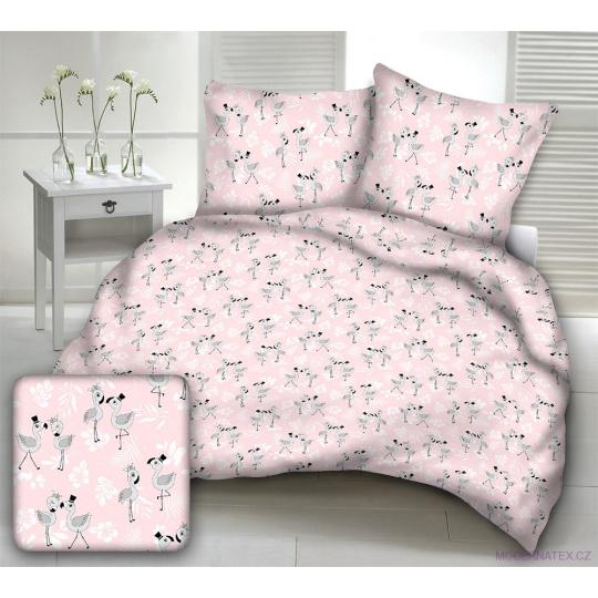 Tkanina bawełniana wzór szare flamingi na różowym tle
