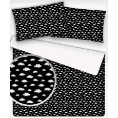 Tkanina bawełniana wzór białe mini chmury na czarnym tle