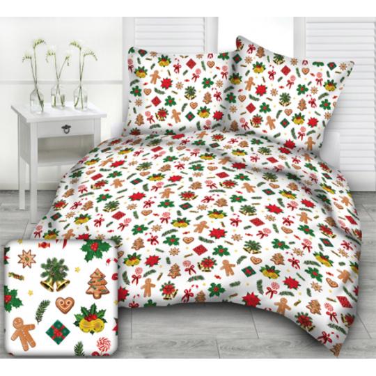 Tkanina bawełniana wzór prezenty świąteczne na białym tle