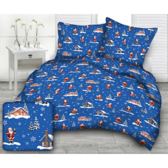 Tkanina bawełniana wzór Święty Mikołaj przy domu na niebieskim tle