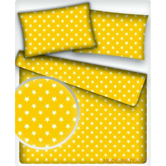 Tkanina bawełniana Białe gwiazdy na żółtym tle