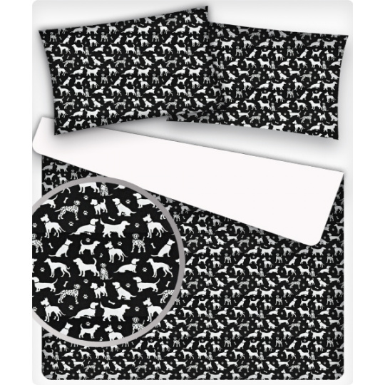 Tkanina bawełniana wzór białe piesy na czarnym tle