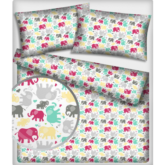 Tkanina bawełniana kolorowe słonie