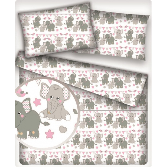 Tkanina bawełniana wzór szare słonie