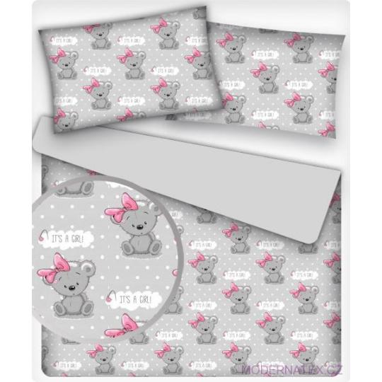 Tkanina bawełniana wzór szare pandy różowymi kokardkami na szarym tle