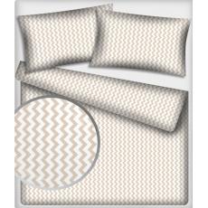 Tkanina bawełniana wzór beżowe zygzaki