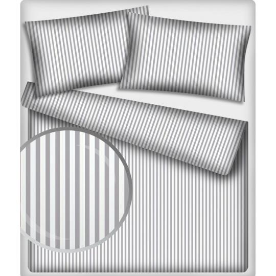 Tkanina bawełniana wzór szaro-białe paski