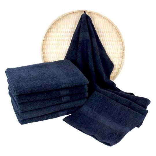 Granatowy ręcznik frotte Darsi - 50x100 cm