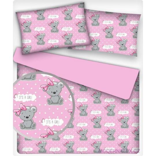 Tkanina bawełniana wzór szare pandy na różowym tle