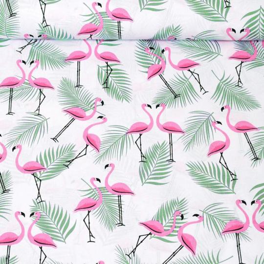Tkanina bawełniana dla dzieci wzór flaminga z zielonymi liśćmi