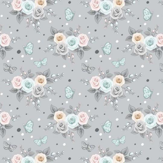 Tkanina bawełniana wzór bukiety z różowych, niebieskich, szarych i beżowych róż na szarym tle