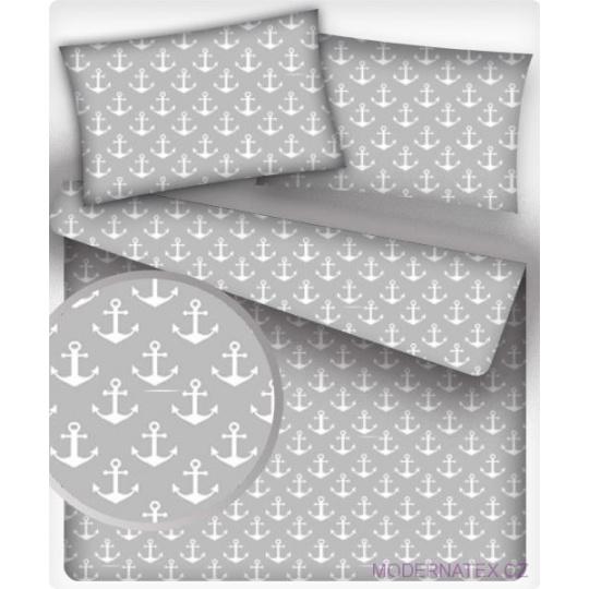Tkanina bawełniana wzór białe kotwice na szarym tle