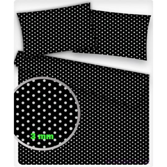 Tkanina bawełniana Białe groszki 3 mm na czarnym tle