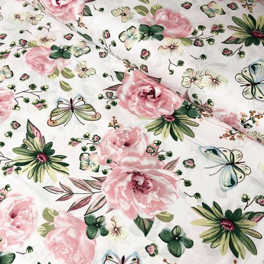 Tkanina bawełniana wzór duże różowe kwiaty na białym tle