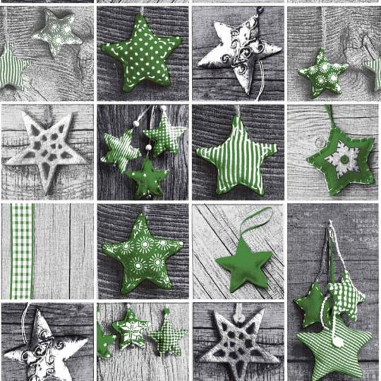 Tkanina bawełniana wzór zielone gwiazdki świąteczne