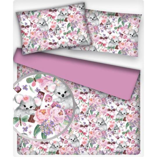 Tkanina bawełniana wzór szare koala i różowe kwiaty