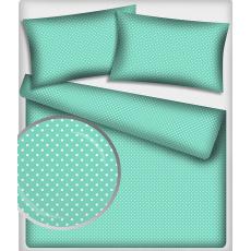 Tkanina bawełniana Białe groszki 7 mm na mentolowym tle