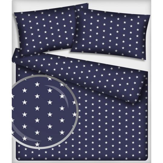 Tkanina bawełniana Białe gwiazdy na granatownym tle