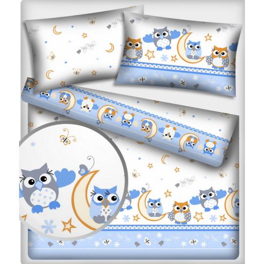 Tkanina bawełniana wzór szaro-niebieskie sowy