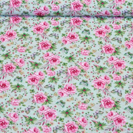 Tkanina bawełniana wzór motyle na różowej polanie kwiatowej na miętowym tle