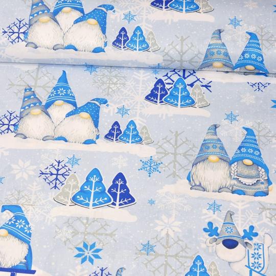 Tkanina bawełniana świąteczna Skrzaty niebieskie