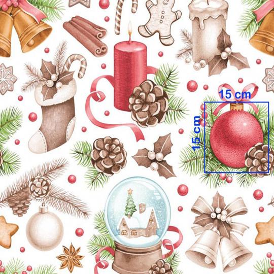 Tkanina bawełniana wzór ozdoby świąteczne na białym tle