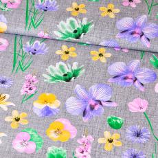 Tkanina bawełniana wzór Lilii na szarym tle