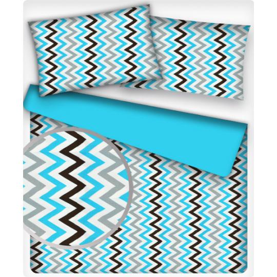 Tkanina bawełniana wzór szaro-niebiesko-białe zygzaki