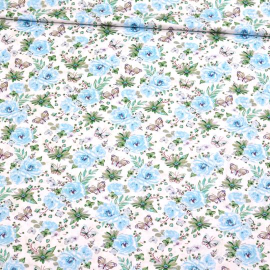 Tkanina bawełniana wzór małych niebieskich kwiatków na białym tle