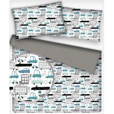 Tkanina bawełniana wzór turkusowe maszyny na białym tle
