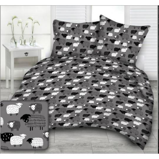 Tkanina bawełniana wzór czarno białe owieczki na szarym tle