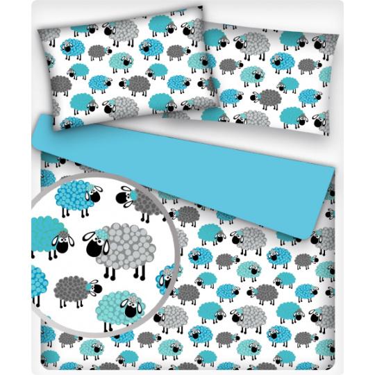 Tkanina bawełniana wzór owieczki turkusowe na białym tle