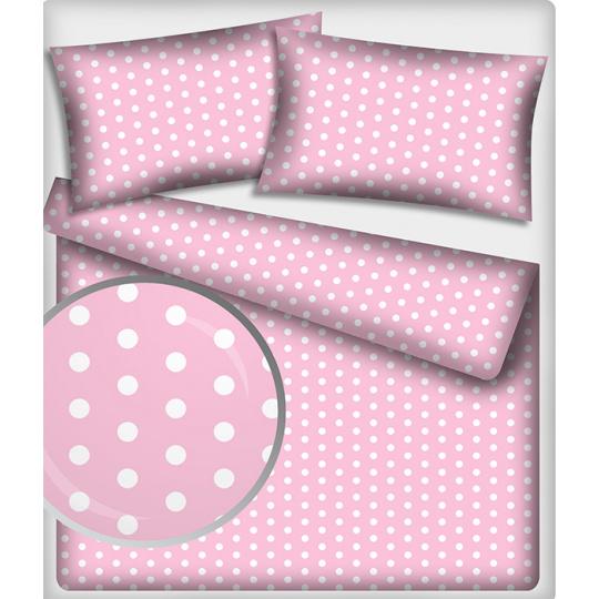 Tkanina bawełniana Białe groszki 22 mm na różowym tle