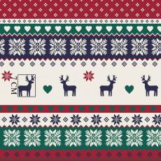 Tkanina bawełniana wzór świąteczny zielony z jelonkiem