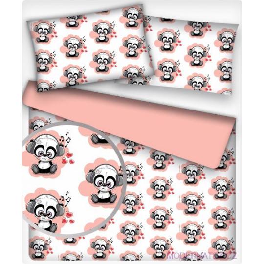 Tkanina bawełniana wzór muzyczny Panda