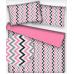 Tkanina bawełniana wzór różowo-szaro-białe zygzaki