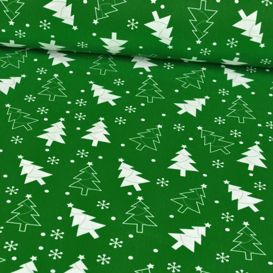 Świąteczna tkanina bawełniana wzór choinki na zielonym tle