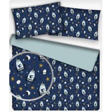 Tkanina bawełniana dla dzieci wzór Rakieta 675 na j.niebieskim tle