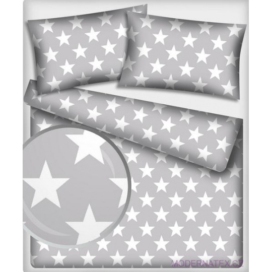 Tkanina bawełniana Białe gwiazdy 12 cm na szarym tle