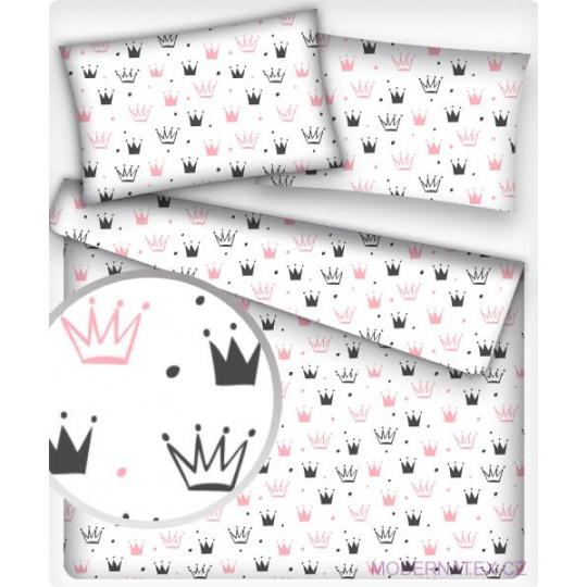 Tkanina bawełniana Korony różowo czarne na białym tle