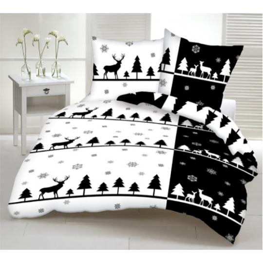 Tkanina bawełniana wzór świąteczny czarno biały