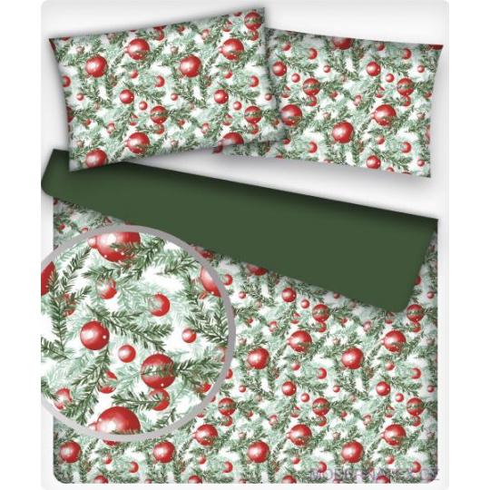 Tkanina bawełniana Gałązka choinki z czerwonymi kulkami