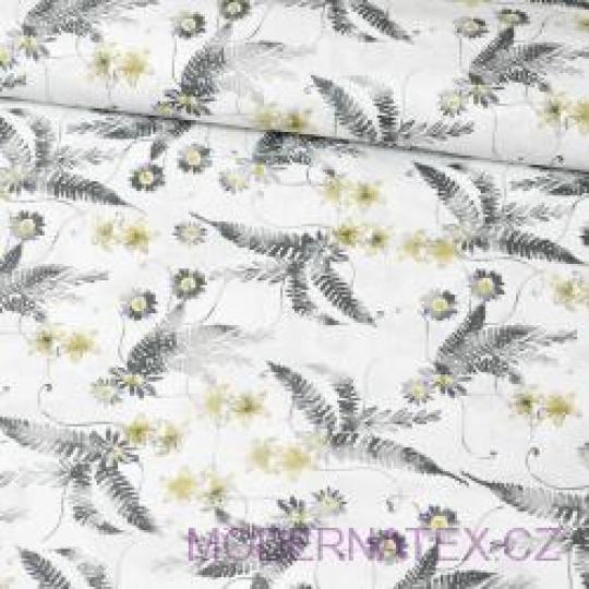 Tkanina bawełniana wzór szare liście i szare-różowe kwiaty