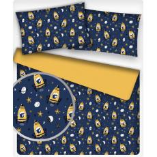 Tkanina bawełniana dla dzieci wzór Rakieta 676 na j.niebieskim tle