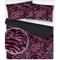 Minky wzór różowa Zebra