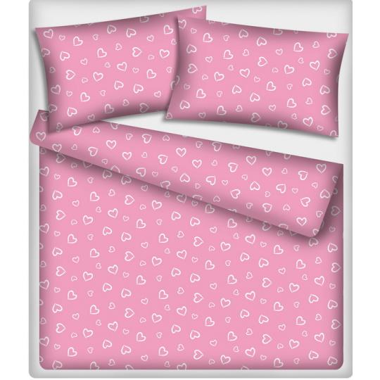 Tkanina bawełniana wzór białe serca na różowym tle